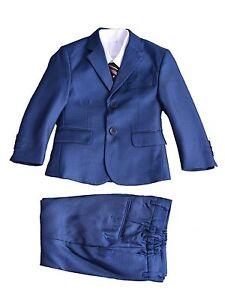 Boys-Suits-5-pieces-costumes-de-mariage-de-bal-Page-Boy-Formal-Party-Bleu-Gris-2-12-ans