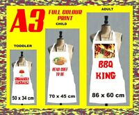 PERSONALISED WHITE APRON ANY IMAGE/TEXT ADULTS AND CHILDREN A3 FULL COLOUR PRINT