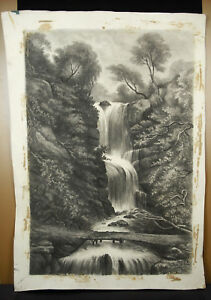 Gustave-Carlier-Drawing-Original-Charcoal-to-a-1900-60-cm-Cascade-Xaterfall