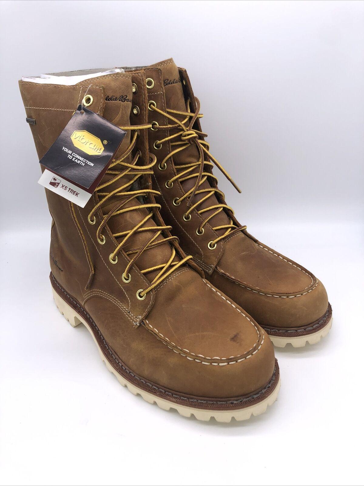 Eddie Bauer K-Series Men's Size 10 Tan Nubuck Leather 10 Eyelet Safety Toe Boots