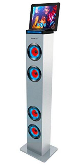 Sharper Image Bluetooth Tower Speaker W/ Lights,FM Radio & Remote Control, White