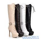 Punk Womens stilettos heel New Lace Up Buckle platform Knee High Boots Plus size