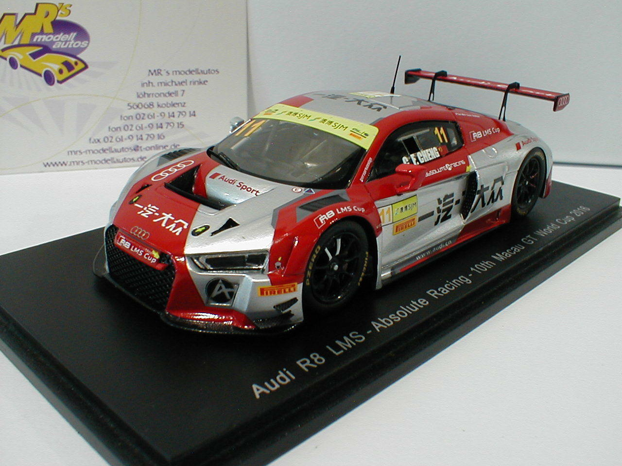 Spark sa115-audi r8 LMS No. 11 10th macao GT World Cup 2016 1 43