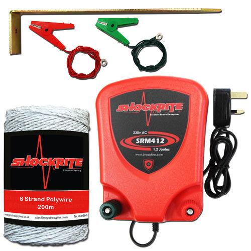 Cerca eléctrica rojo dinamizador ShockRite SRM412 1.2 Joule 200 M blancoo Cable de polietileno
