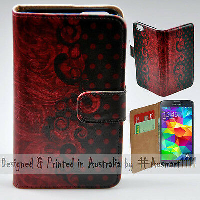 Wallet Phone Case Flip Cover for Samsung Galaxy S5 Red Vintage Damask Polka Dot