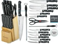 Kitchen Knife Set 15 Piece Block Stainless Steel New Knives Chef Cutlery Steak