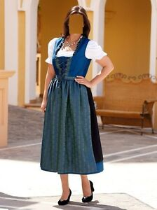 dirndl royalblau schwarz kurzgr gr 44 gr 46 gr 48. Black Bedroom Furniture Sets. Home Design Ideas