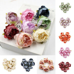 10Pcs-Artificial-Peony-Flower-Heads-Champagne-Bouquet-Wedding-Home-Decoration
