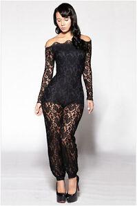 Women Black Lace Floral Stretch Long Sleeve Plus Size Bobycon ...