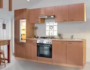 k chenzeile k che k chenblock 270 cm breit mit e ger ten buche dekor ebay. Black Bedroom Furniture Sets. Home Design Ideas