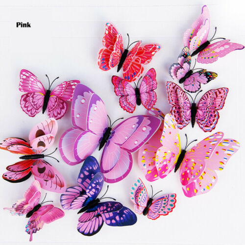 12pcs 3D Butterfly Wall Stickers Removable Mural Decals DIY Art Home Decoration