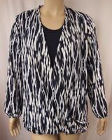 Autograph Navy White Long Sleeve Crossover Tunic Top Plus Size 18 26 L23