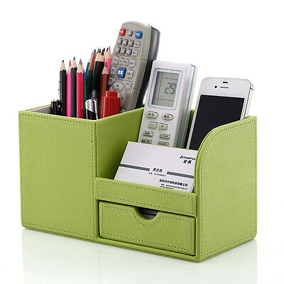 Home Office Desk Leather Wooden Stationery Cosmetic Organizer Pencils Holder Box