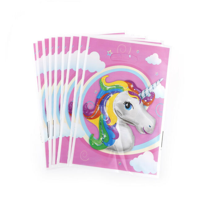 10pcs Unicorn Theme Party Gift Bags Candy Bag Loot Bags For Kids Birthda LL