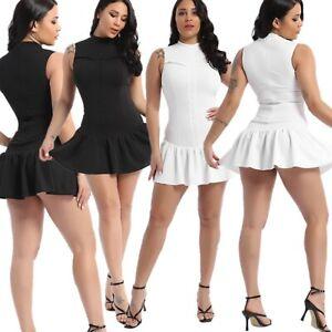 Women Sleeveless Floral Frill Hem Shirring Design Summer Casual Elegant Dress