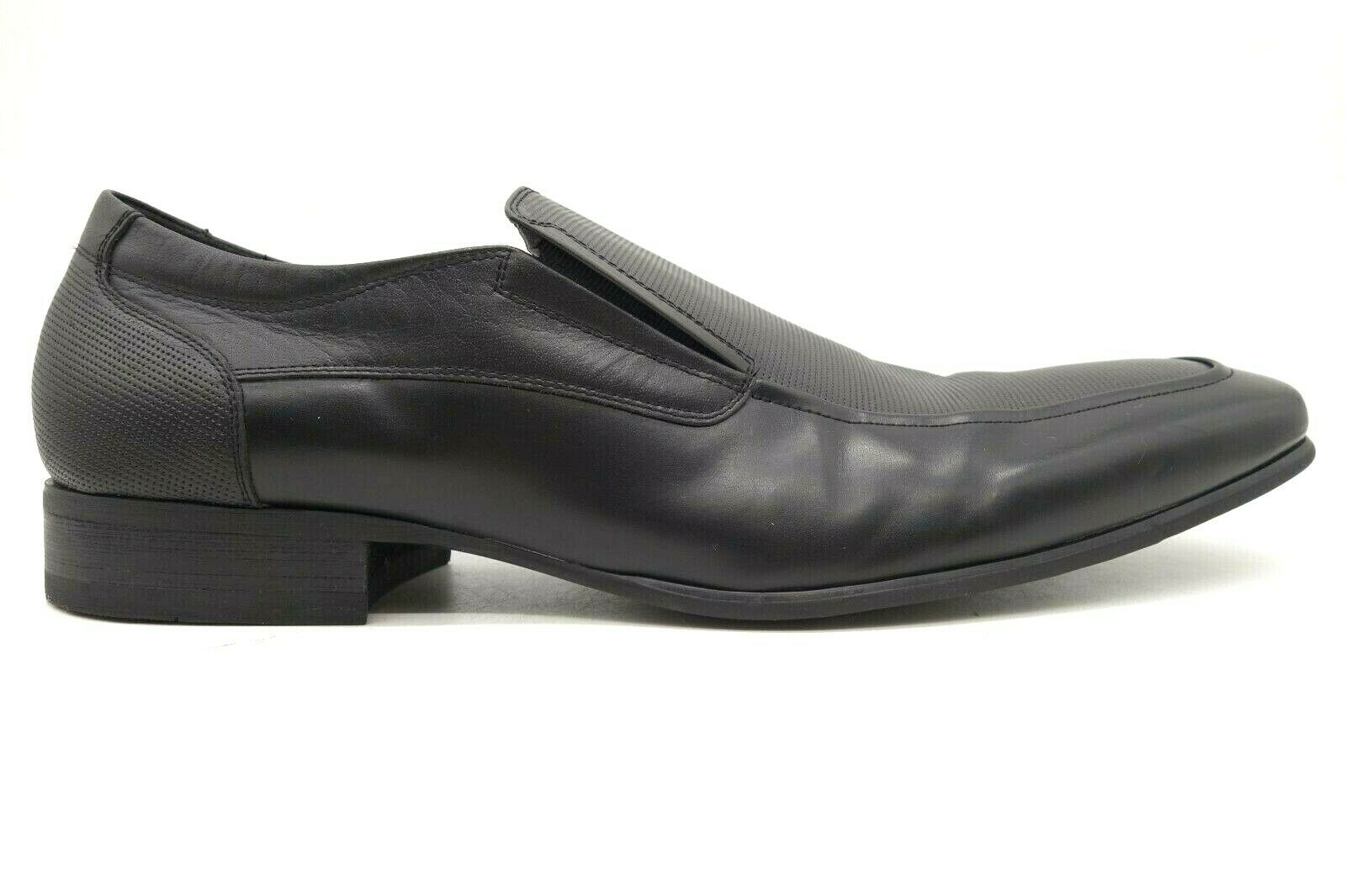 Kenneth Cole Reaction Car Polish Black Leather Slip On Loafers Shoes Men's 12 M