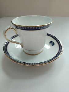 Aynsley-Footed-Cup-amp-Saucer-Geometric-Pattern-in-Gold-light-blue-cobalt-Twilight