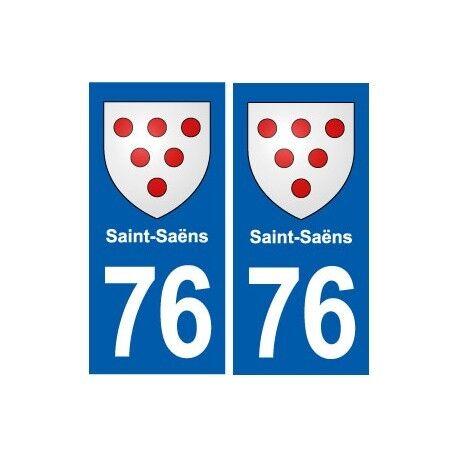 76 Saint-Saëns blason autocollant plaque stickers ville -  Angles : droits