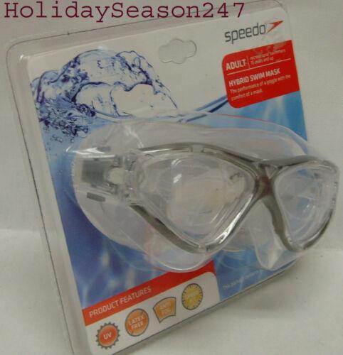 Speedo Hybrid Swim Mask Adult 15 Years And Up Blue Yellow Black Swimming Goggles