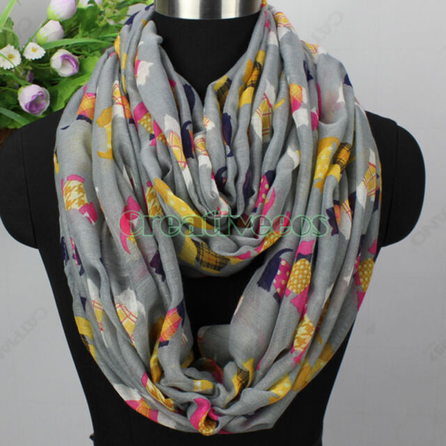 Women Fashion Scarves Colorful Cartoon Dogs Print Casual Long/Infinity Scarf New