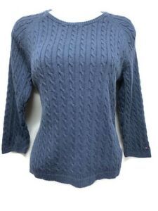 01e4e3fdb Beautiful Women s Large Tommy Hilfiger Blue 3 4 Sleeve Cable Knit ...