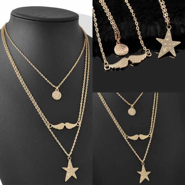 Relatively Multi Layer Gold Dic Star Beard Pendant Long Chain Simple Design  WB22