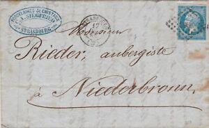 FRANCE-20-cent-18-8-sur-lettre-avec-texte-de-Strasbourg-Lettera-con-testo