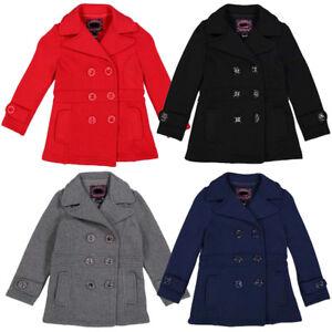 c7661789 NEW Girls Double Breasted Pea Coat Winter Kids Size: 6 8 10 11 | eBay
