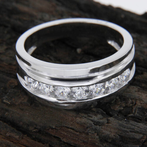 14k White Gold Over 1 Ct Men/'s Round Cut White Diamond Wedding Band Ring