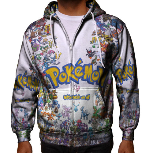 Pokemon Gotta Catch Them All Hoodie Sweatshirt Fullprint New Men/'s Zipper Hoodie