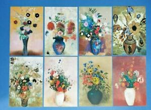 Set of 8 NEW Flowers Art Postcards by Odilon Redon great for Postcrossing