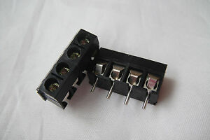 2PC-Black-4-Pin-Screw-Terminal-Block-Connector-5mm-Pitch-Panel-PCB-Mount-for-DIY