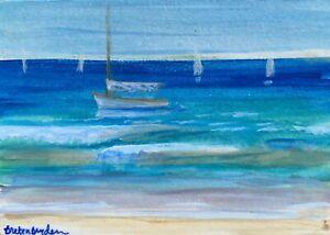 ACEO-Original-Miniature-Painting-Catboat-Sailboat-Nautical-Sea-Cape-Cod-Artist