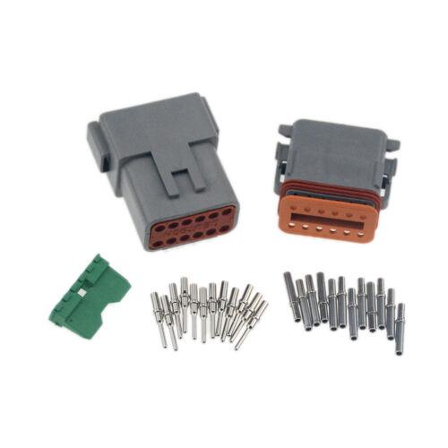 5sets Deutsch 12 Pin Waterproof Electrical Wire Connector Plug DT06-12S 16-18 GA