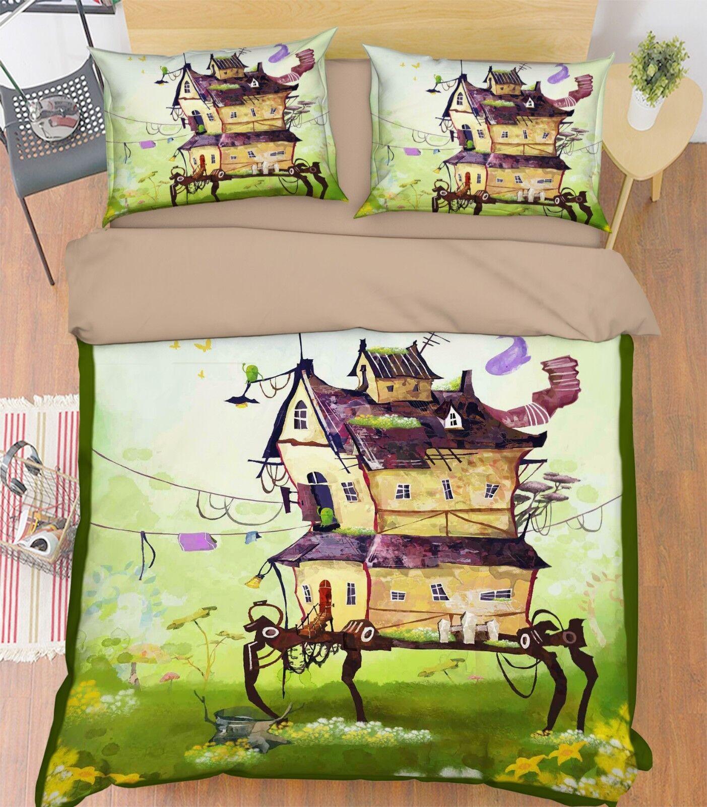 3D House Grass 79 Bed Pillowcases Quilt Duvet Cover Set Single King UK Summer