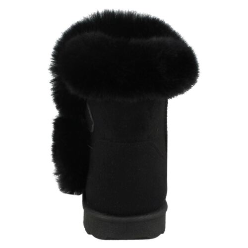 GIRLS SPOT ON H4142 ROUND TOE FAUX FUR LINED PULL ON WARM WINTER ANKLE BOOTS