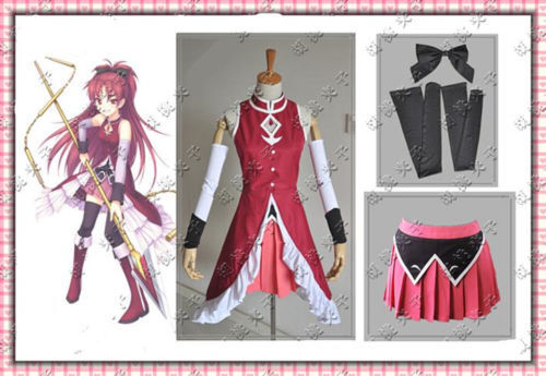 Puella Magi Madoka Magica Sakura Kyoko Uniform Dress Cosplay Costume