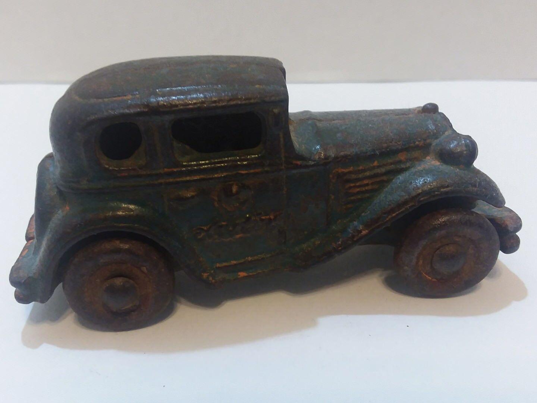Deco Era Original grigio-blu Paint Finish Cast Iron Austin Sedan Toy Car