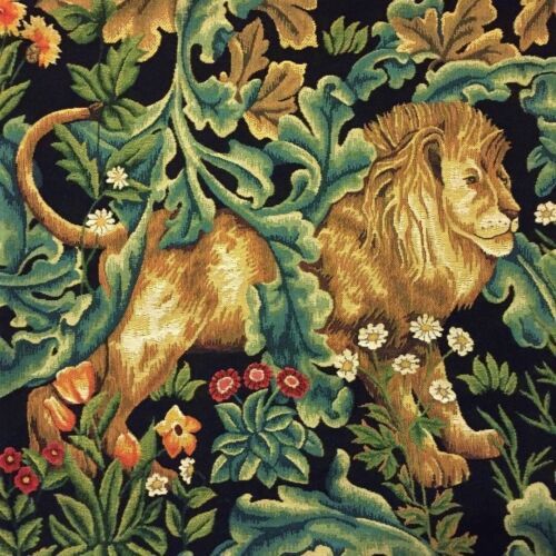 """NEW 18/"""" WM WILLIAM MORRIS BLACK FOREST LION BELGIAN TAPESTRY CUSHION COVER 01882"""
