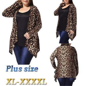 Fashion-Women-039-s-Plus-Size-Leopard-Print-Asymmetric-Open-Front-Cardigan-Coat-Hot