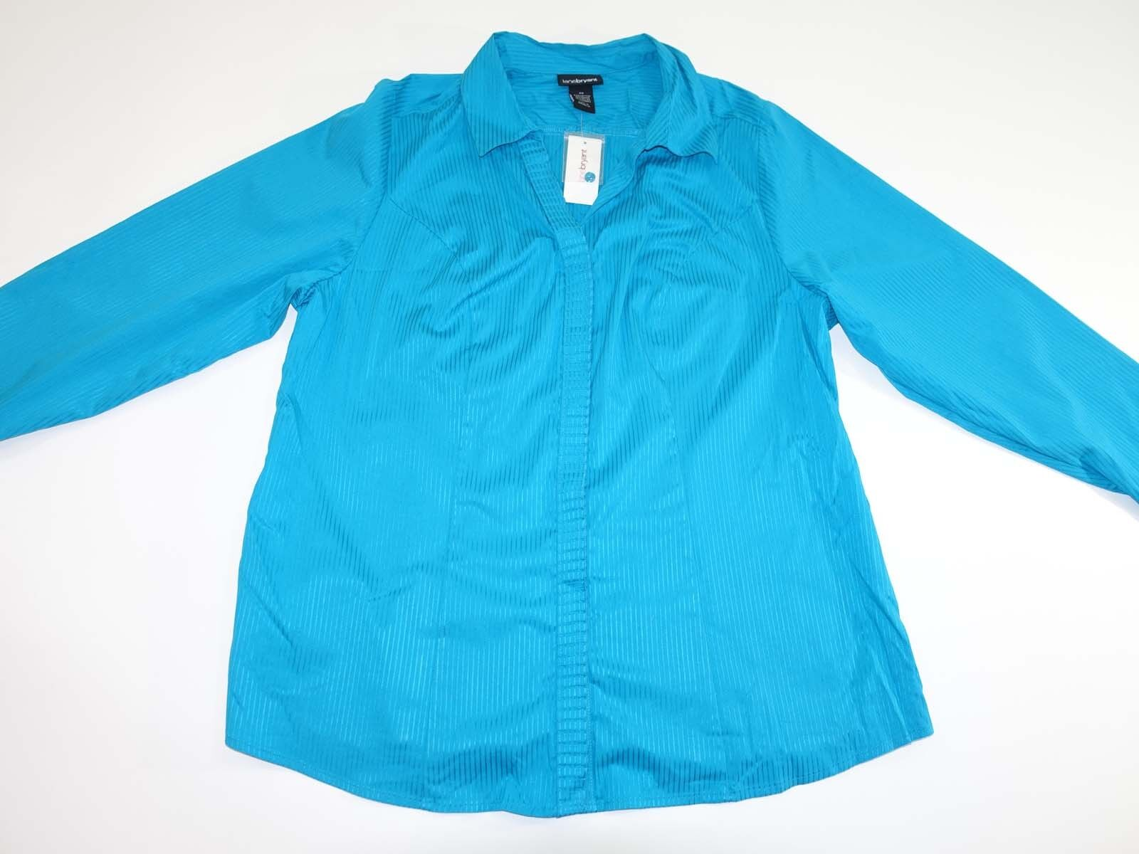 Lane Bryant Women's Button Down Shirt Size 20 NWT Long Sleeves Turquoise bluee LS
