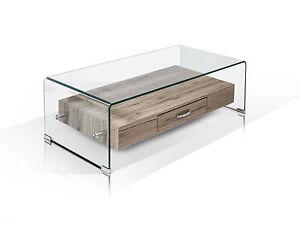 Glas Couchtisch Glastisch 110x55 Beistelltisch Tisch Eiche Dekor