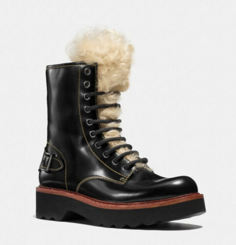 Coach Hiking Moto Boots with Shearling 8M