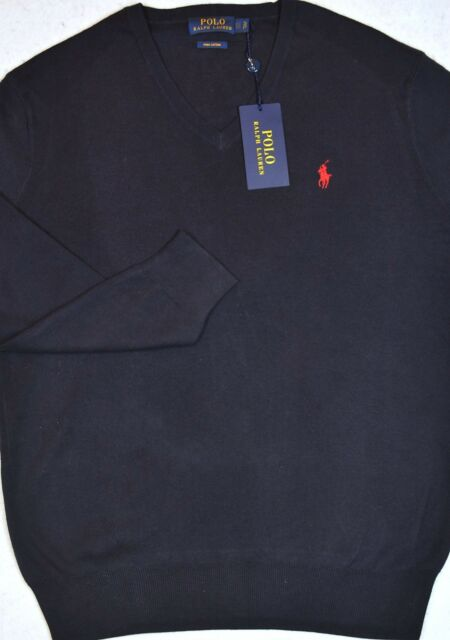 368c6a535ccc0b Polo Ralph Lauren Sweater Pima Cotton VNeck Hunter Navy Size S Small New  NWT $99