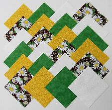 """40 4"""" GROOVY DAISIES Fabric Quilt Squares Quilting Daisy Floral Yellow Brown Kit"""