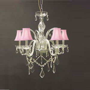 New Authentic All Crystal Chandelier With Pink Shades Ebay