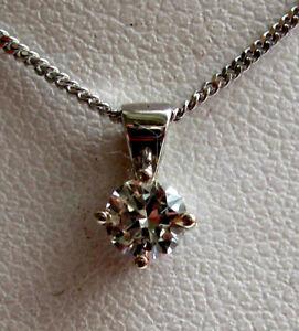 Neu 1//5ct Diamant Solitaire 9 Karat Weiss Gold Anhänger Halskette /& Goldkette