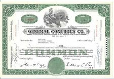 GENERAL CONTROLS CO.....1958 STOCK CERTIFICATE