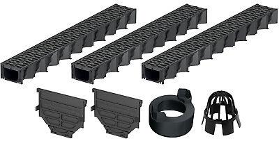 Entwässerungsrinne SET inkl Metallrost 3 x1 Meter Kit 100//80 mm