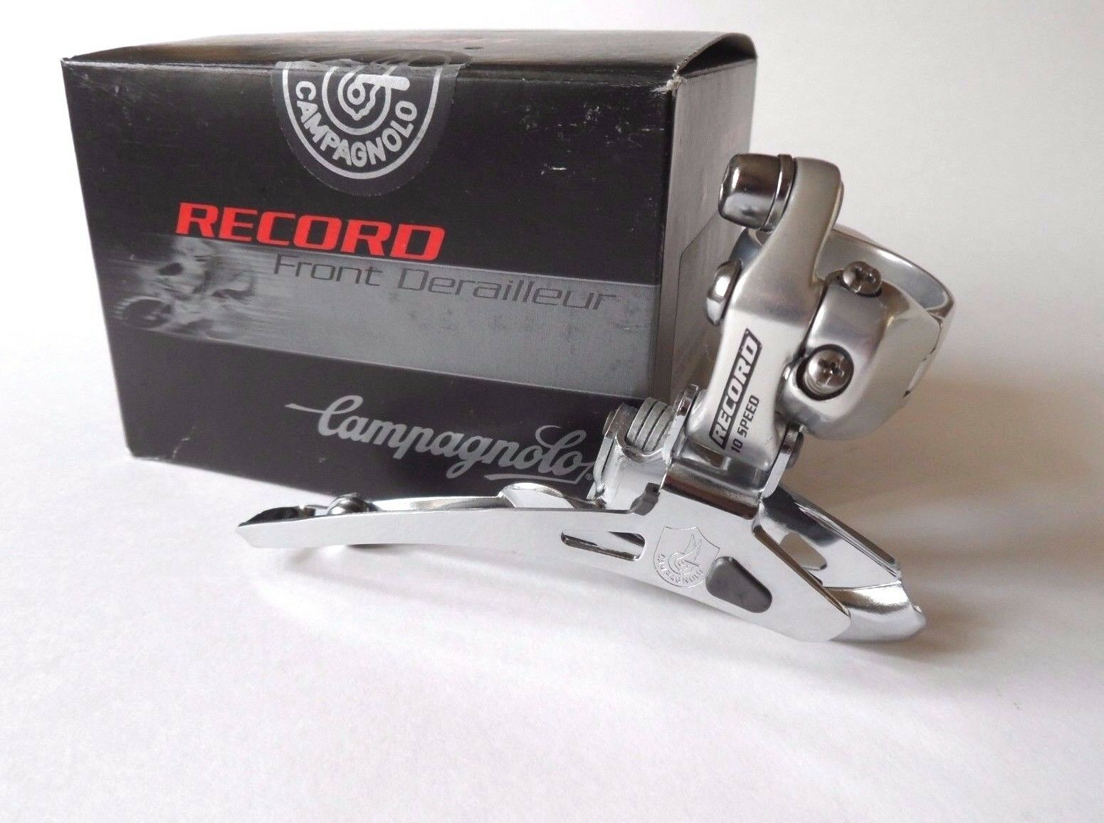 NOS Campagnolo Record (titanium) 10  speed double front clamp-on derailleur  very popular